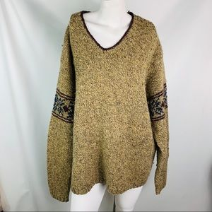 Jcrew 100% wool hand knit sweater large vee neck